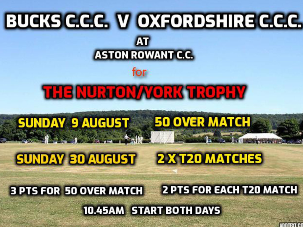 Bucks T20 squad for Aston Rowant double header v Oxon